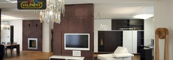 Интерьер помещение с применением декоративной краски Klondike